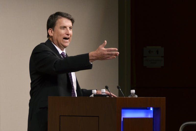 Former Gov. Pat McCrory spoke to leaders of UNC system schools about his plans for the development of education in North Carolina in January 2015.