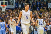 Grayson Allen (3) reacts during the final seconds of a game.