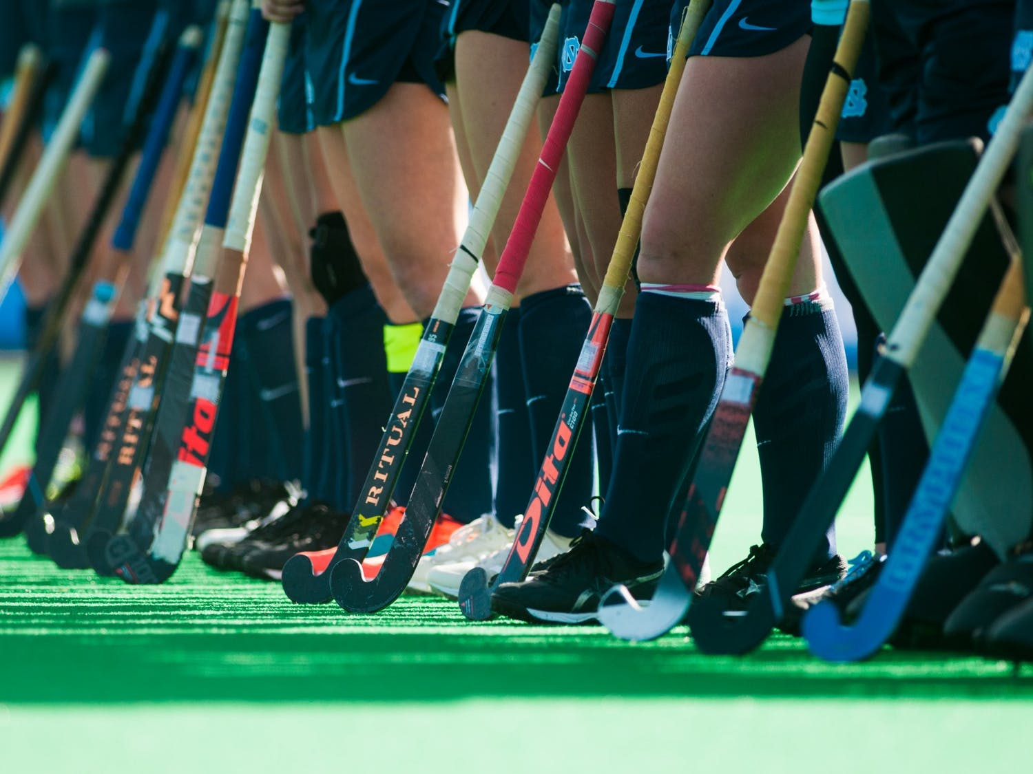 UNC field hockey players stand as the starting lineup is announced during the NCAA Championship Game at Kentner Stadium on Sunday, Nov. 24, 2019. UNC won 6-1, marking their 8th national championship.