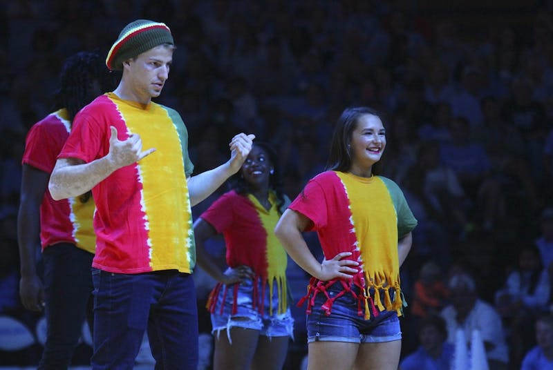 Stilman White and Madison Andrews get ready to dance at Late Night With Roy on Friday night.