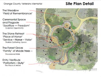 The proposed site plan for the Orange County Veterans Memorial. Phase II of construction is now beginning, with the Town of Carrboro voting to contribute $25,000. Photo courtesy of the Veterans Memorial Committee.