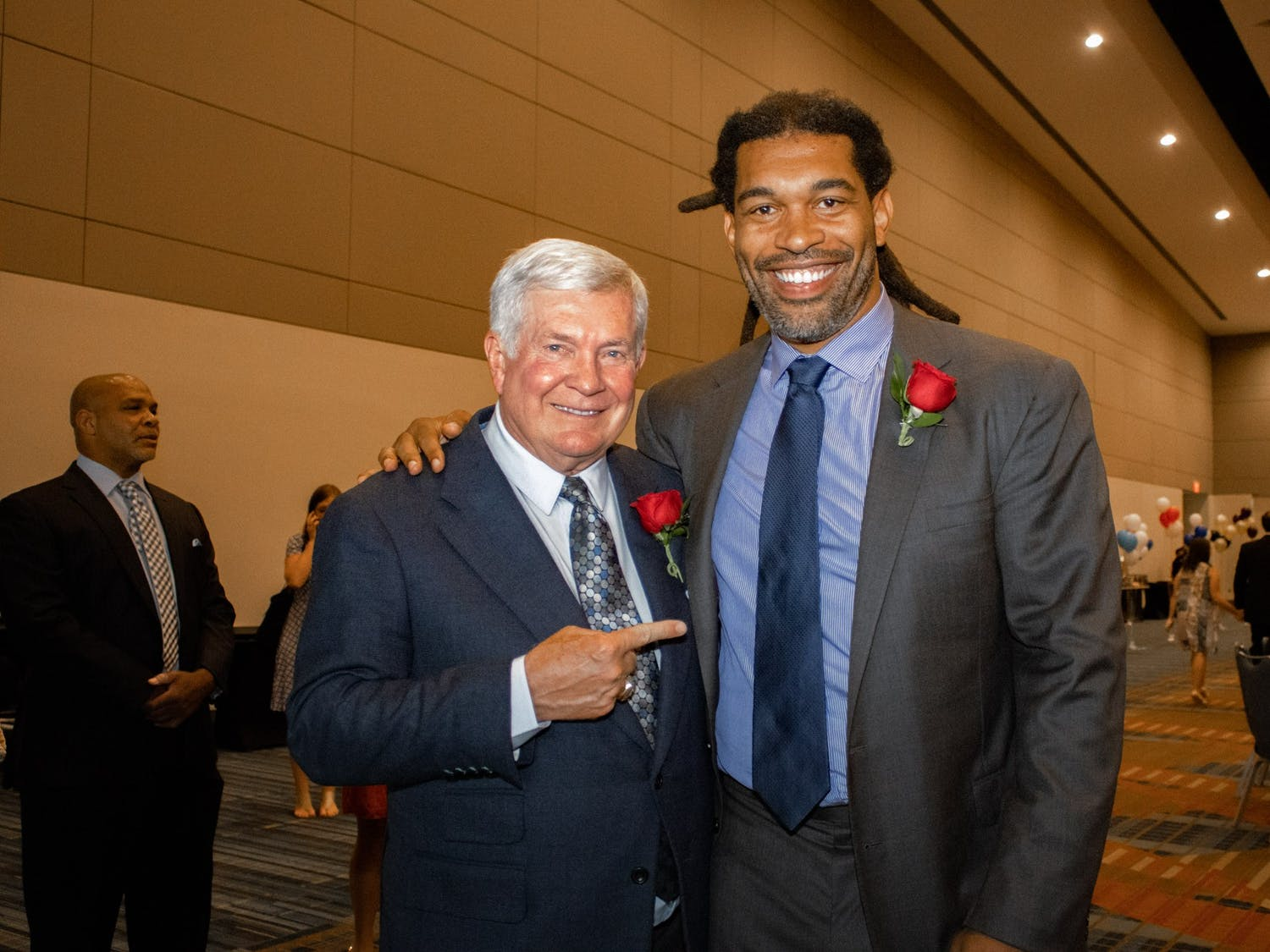 Inductees Mack Brown and Julius Peppers as pictured before the North Carolina Sports Hall of Fame induction ceremony Friday.