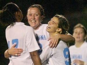 Freshman Lucy Bronze (center) scored two goals and added an assist on the weekend. DTH/Andrew Dye