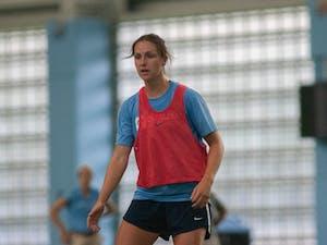 UNC women's soccer junior defender, Lotte Wubben-Moy, practices in the indoor practice facility on Monday August 19, 2019.