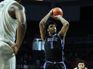 Duke's first-year center Vernon Carey Jr. (1) shoots the ball during the game against Miami in Watsco Center on Saturday, Jan. 4, 2020. Duke beat Miami 95-62. Photo by Rebecca Schneid, courtesy of The Chronicle.