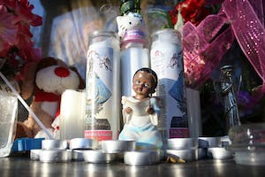 A vigil was created outside the home of Tylena Williams, Maleah's mother. The vigil was made up of toys and prayers candles.