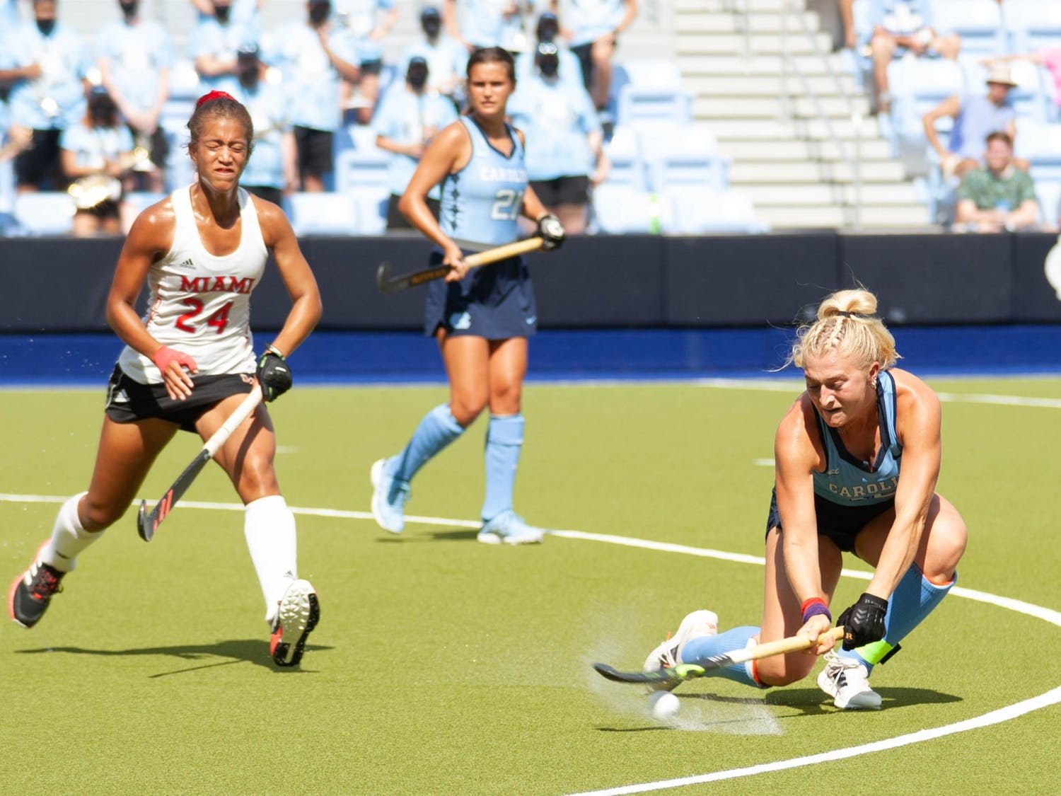 UNC junior midfielder Paityn Wirth (10) gains possession of the ball during the field hockey game against the Miami Redhawks at Karen Shelton Stadium on Sept. 19, 2021. The Tar Heels defeated the Redhawks 7-2.