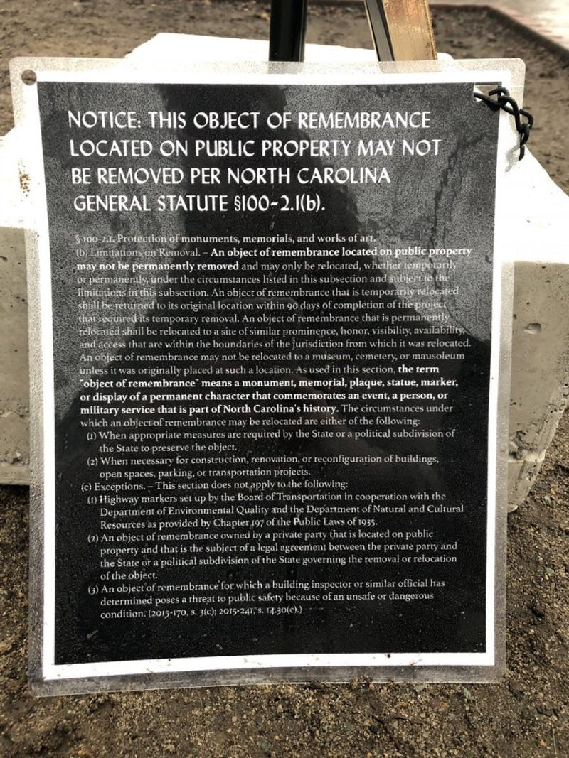 James Cates' plaque cites N.C. General Statute 100-2.1, which is commonly used as the law prohibiting Confederate monument Silent Sam's removal, as reason that the plaque cannot be removed.