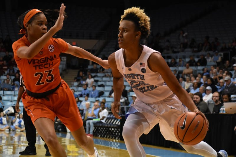 Guard Paris Kea (22) dribbles past a Virginia Tech defender on Feb. 7 in Carmichael Arena.