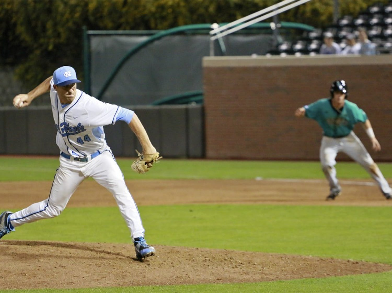 North Carolina pitcher Trevor Kelley (44) hurls a pitch Tuesday night against Coastal Carolina.