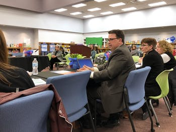 Patrick Abele, assistant superintendent of Chapel Hill-Carrboro City Schools speaks at a meeting on Friday, Jan. 17, 2020. The Orange County Schools Board of Education met with CHCCS to discuss pre-K and school building maintenance.