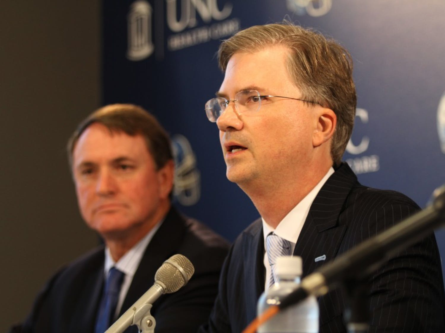 Butch Davis, Holden Thorp, Dick Baddour, and Steve Kirschner give a press conference on possible academic misconduct involving the football team. The NCAA investigation encapsulated the 2010 UNC football season. It is still unknown when the university will hear decisions from the NCAA.