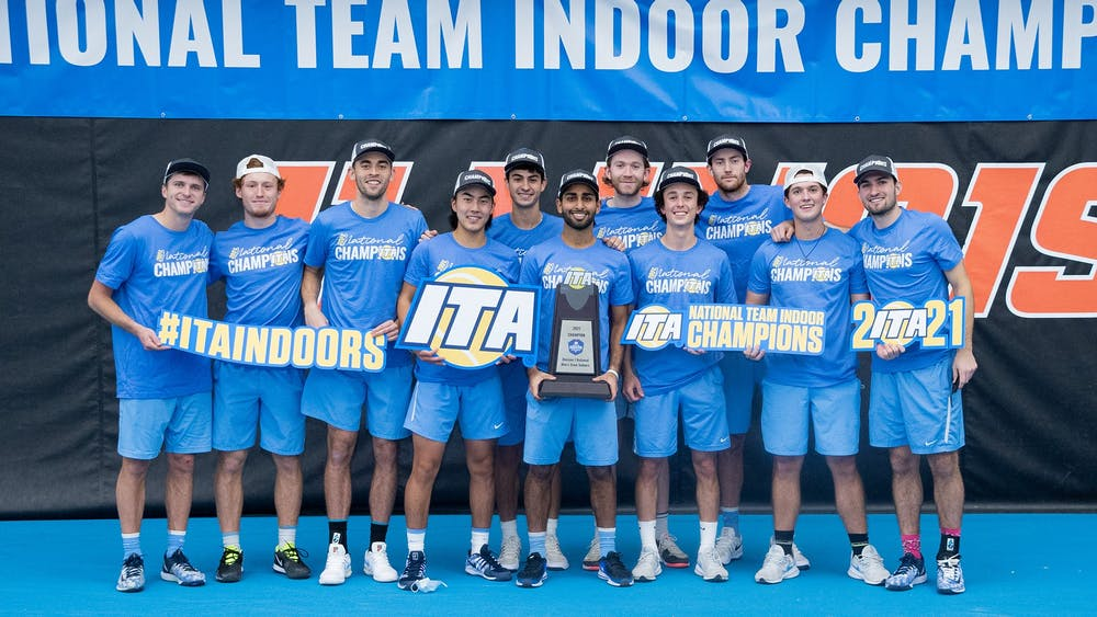 <p>The UNC men's tennis team won the 2021 ITA Indoor National Championships. Photo courtesy of ITA.</p>