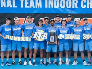 The UNC men's tennis team won the 2021 ITA Indoor National Championships. Photo courtesy of ITA.