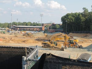 Construction continues on Fetzer Field. The renovations are expected to be finished by August 2018.