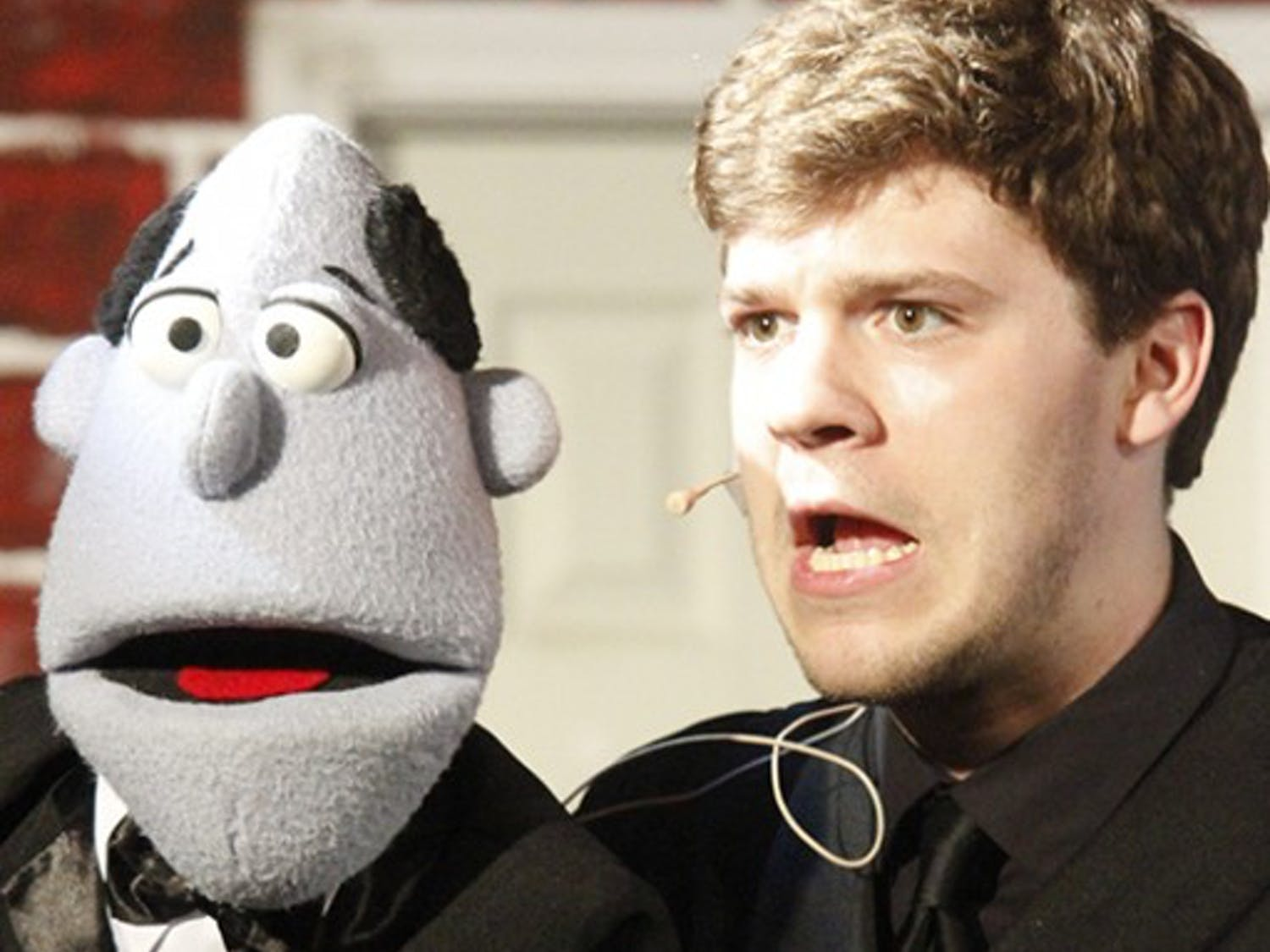 Student performer Will Hawkins at a dress rehearsal for Pauper Player's production of Avenue Q. The rehearsal took place at the Arts Center in Carrboro, Wednesday the 2nd of April.