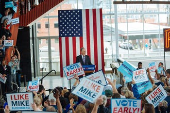Michael Bloomberg delivers remarks during an early voting rally at Raleigh Union Station on Thursday, Feb. 13, 2020, in Raleigh, North Carolina. The rally marks the start on, Thursday, of early voting in North Carolina for the March 3 Super Tuesday primary elections. Photo courtesy of Kevin Hagen/Mike Bloomberg 2020.