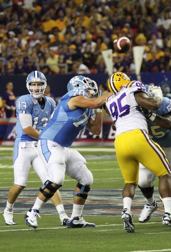Quarterback T.J. Yates threw for 412 yards and three touchdowns in Saturday night's 30-24 loss to LSU. The senior's best series was a 13-play, 67-yard touchdown drive that brought UNC within six points after trailing by 20 entering the fourth quarter.