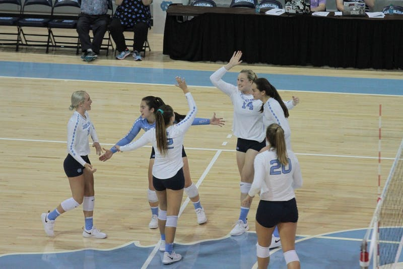 UNC volleyball celebrates after winning a point against UNC-Greensboro Friday, Aug. 31 in Carmichael Arena.