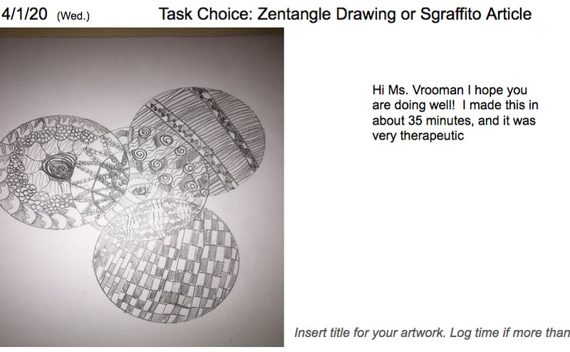 An Orange County ceramics teacher had the foresight to send home small amounts of clay with individual students before schools were closed. She had the students create a two dimensional Zentangle, then create a 3D version.Photo courtesy of Brenda Whiteman.