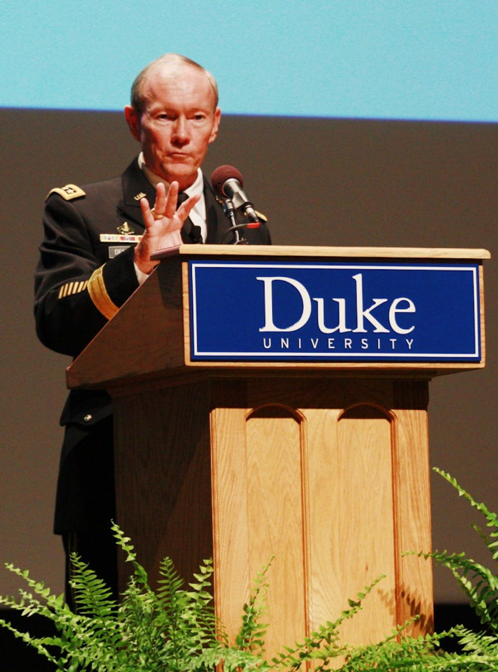 "General Martin Dempsey, the U.S. Joint Chiefs of Staff gave a speech entitled  ""American Grand Strategy in an Age of Austerity"" at Duke University Thursday evening. General Dempsey discussed the US's new military strategy, his experiences as a Master's student at Duke and answered questions from the crowd."