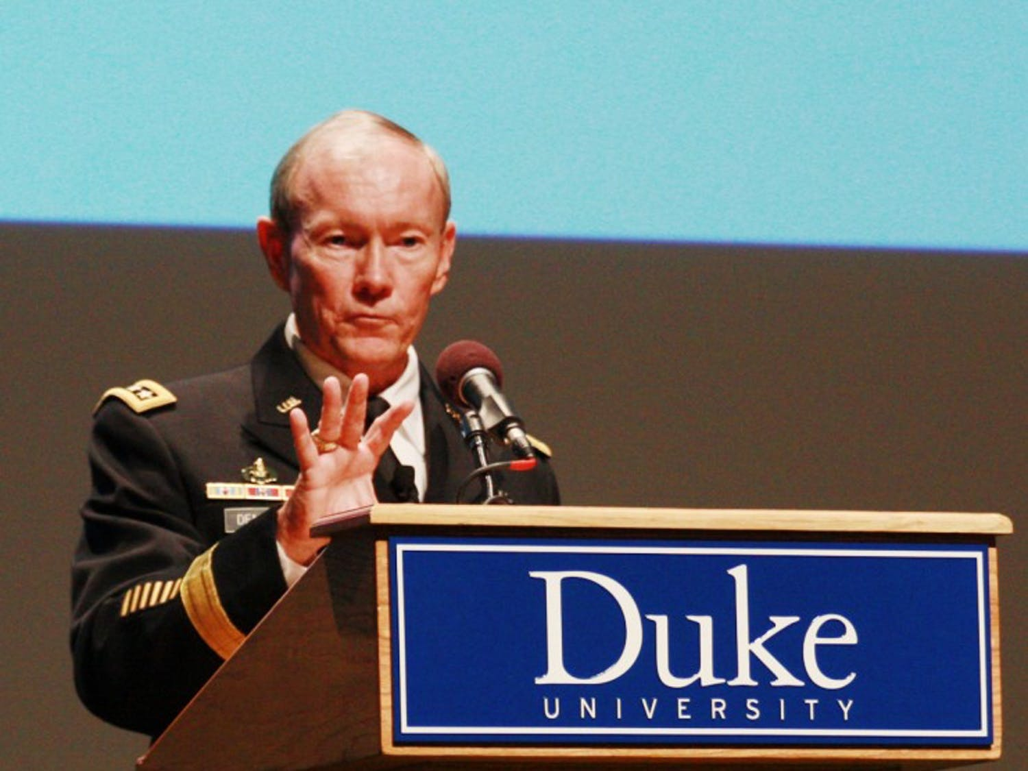 """General Martin Dempsey, the U.S. Joint Chiefs of Staff gave a speech entitled  """"American Grand Strategy in an Age of Austerity"""" at Duke University Thursday evening. General Dempsey discussed the US's new military strategy, his experiences as a Master's student at Duke and answered questions from the crowd."""