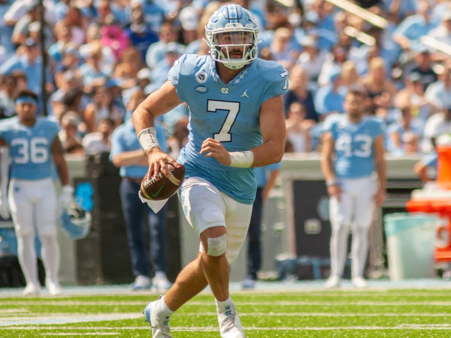 Junior quarterback Sam Howell (7) prepares to throw the ball at the game against Duke on Oct. 2 at Kenan Stadium. UNC won 38-7.