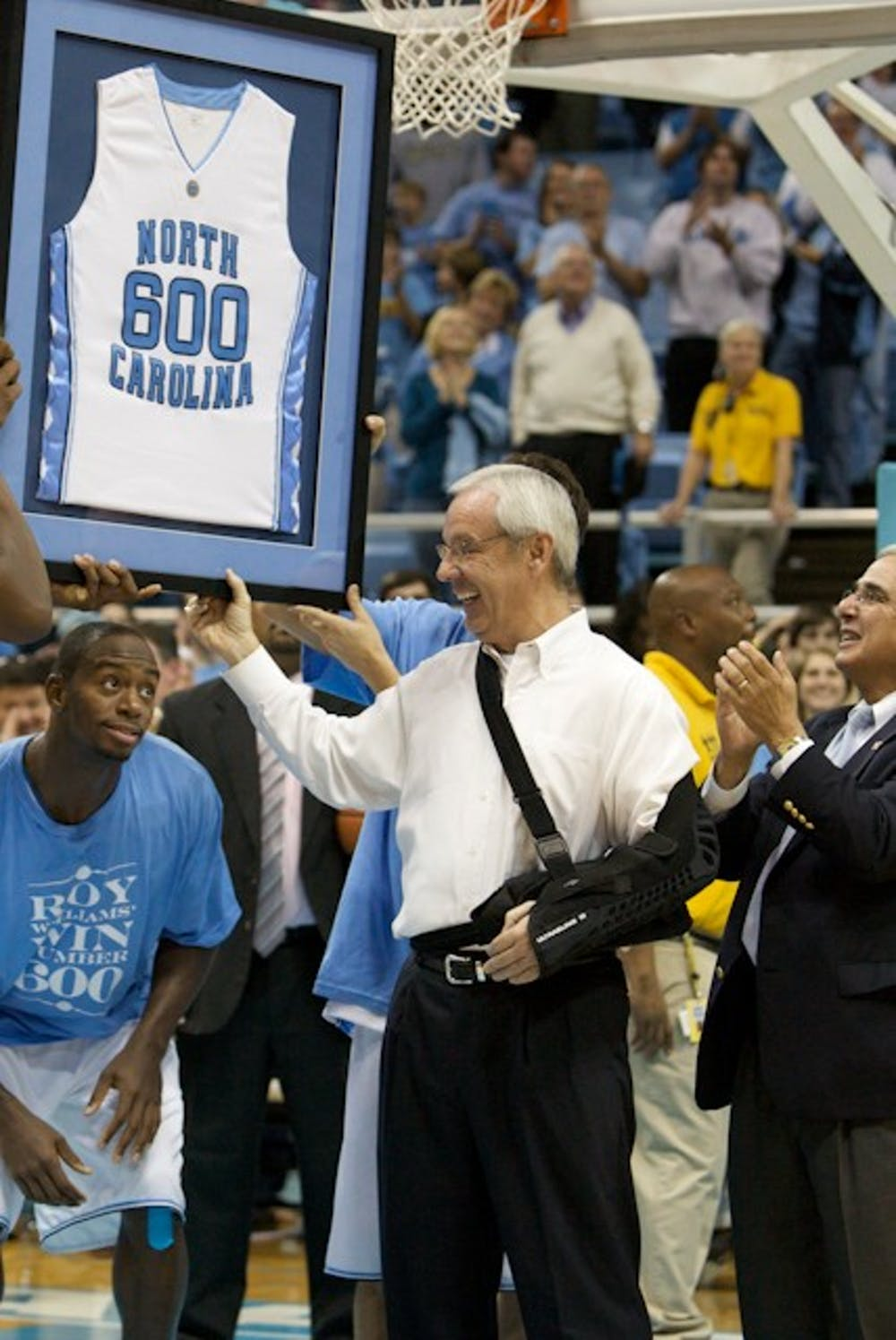 Coach Roy Williams earned his 600th win Sunday night against Nevada.