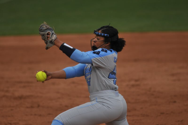 UNC sophomore pitcher Hannah George pitches the ball during a game against Elon on Wednesday, Feb. 26, 2020 in G. Anderson Softball Stadium. UNC lost to Elon 2-1.