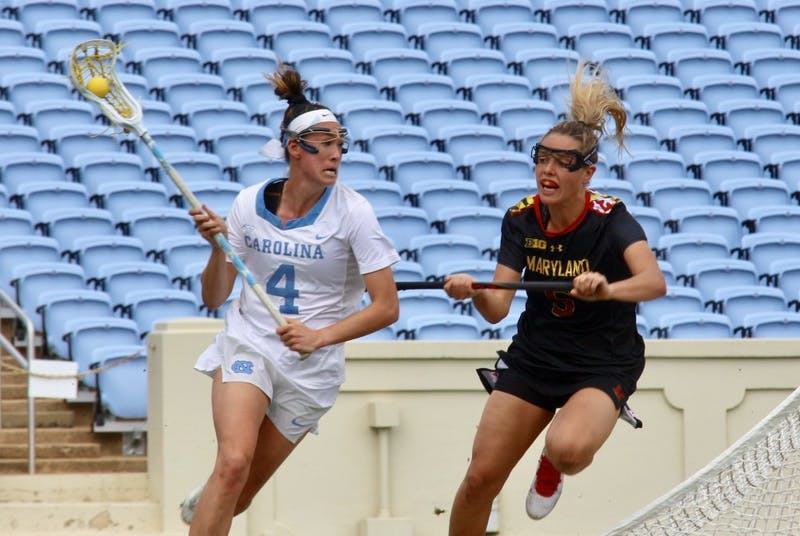Midfielder Marie McCool (4) charges past Maryland defender Jen Giles (5) on Feb. 24 in Kenan Stadium.