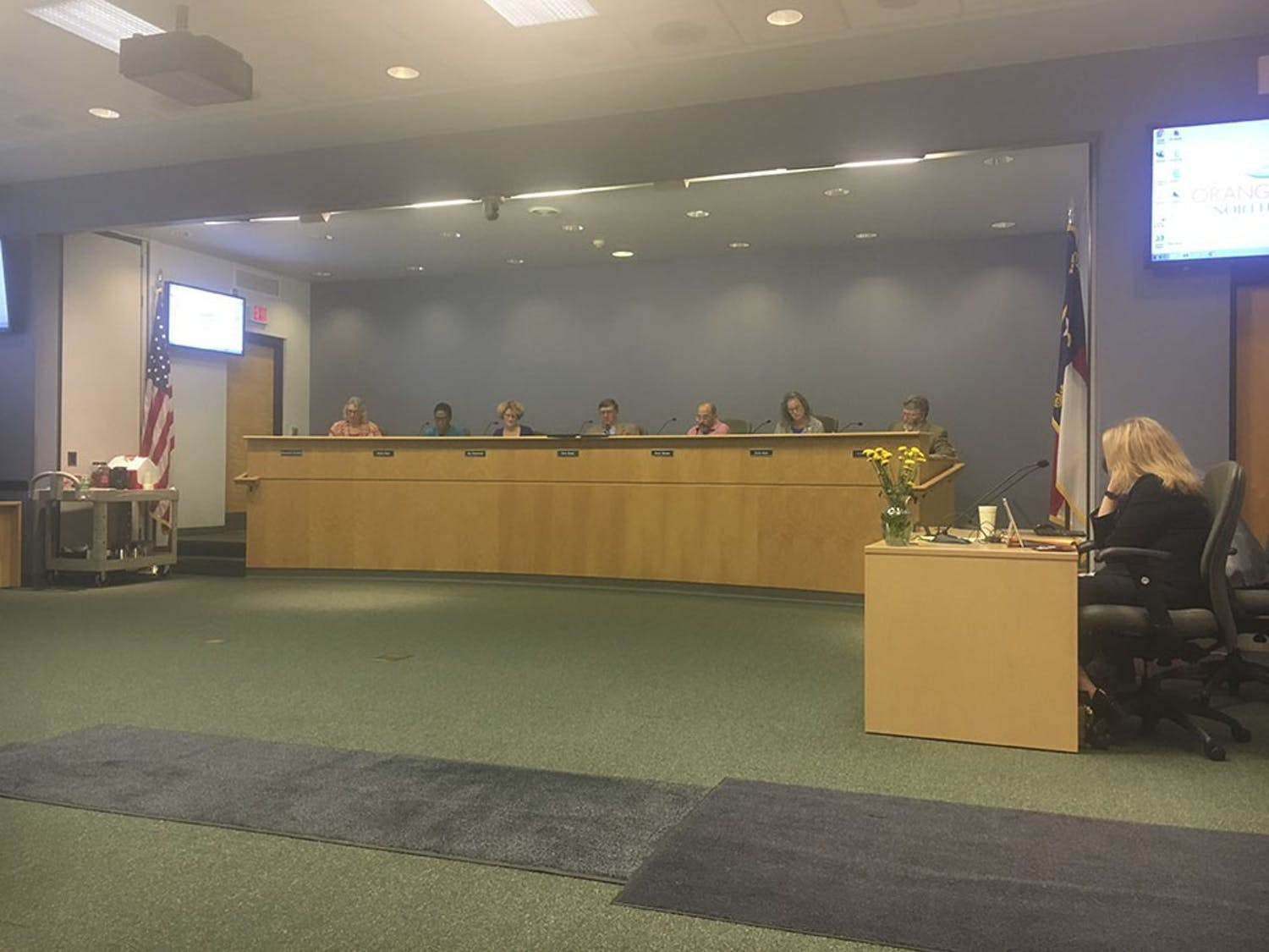 The County Commissioner meeting was held in the Southern Human Service Center in Chapel Hill on Tuesday.