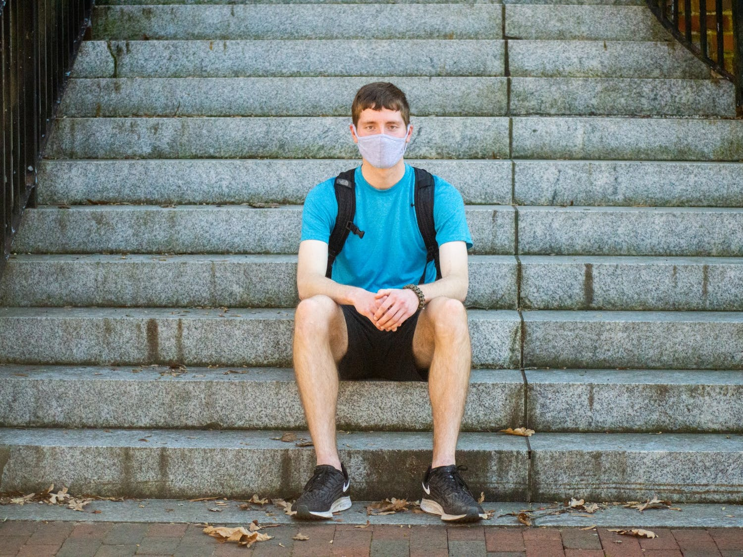 Jason Kennedy, a first year computer science major, poses on the steps of Murphey on Thursday Mar. 11 2021.