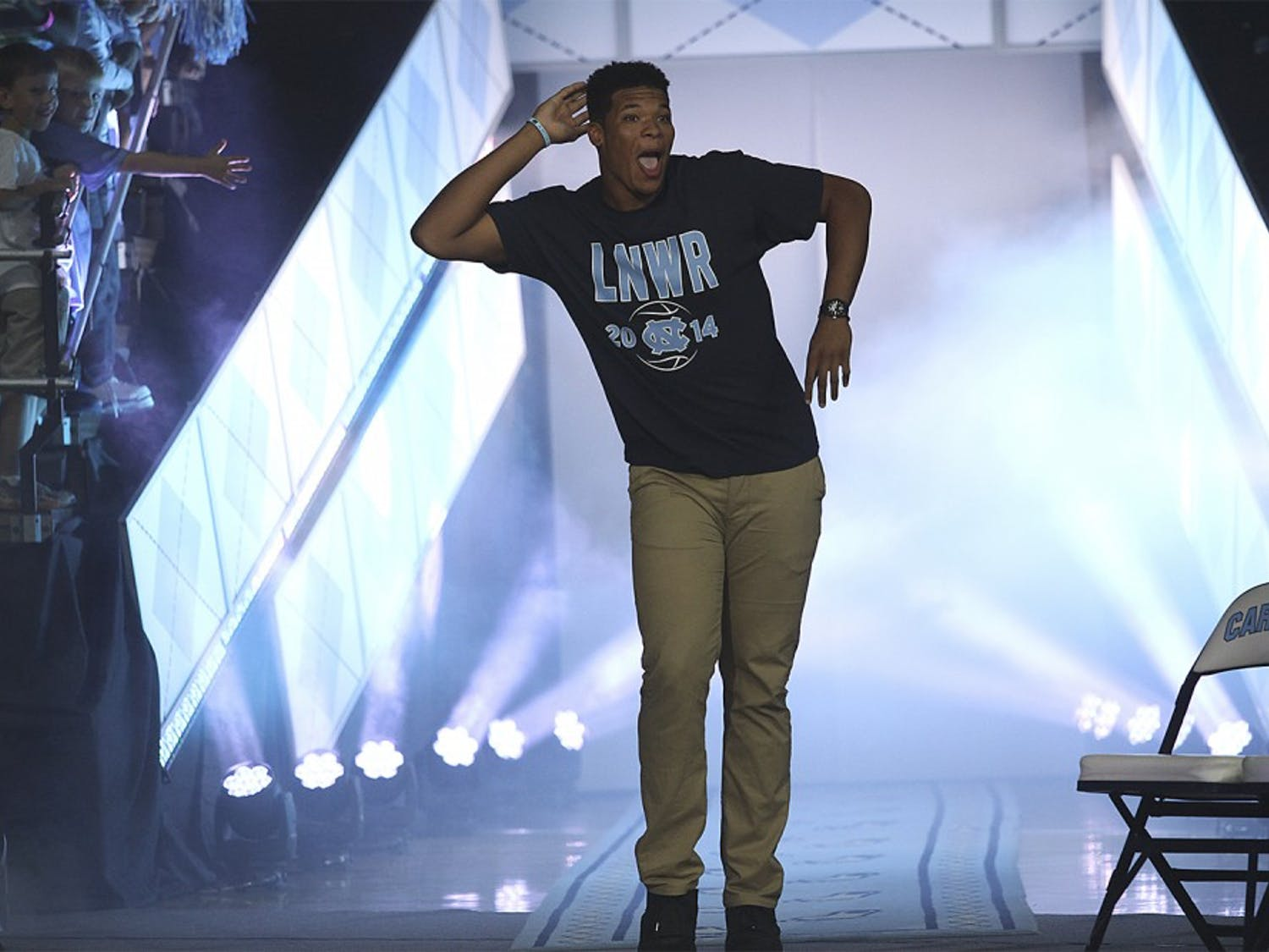 The men's and women's basketball teams took to the Dean Smith Center on Firday for Late Night with Roy, the annual kick-off to basketball season. Both teams played a scrimmage in between skits and dances.