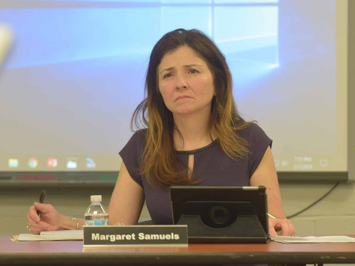 Margaret Samuels, chair of the school board of the Chapel Hill - Carrboro school district sits on a meeting on Friday, Feb. 7, 2019 at the Lincoln Center, 750 S. Merritt Mill Rd.