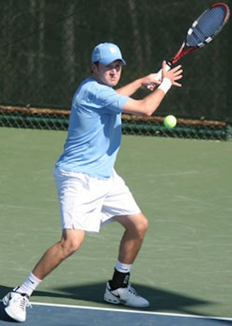 """After two strong matches against Clemson"""" senior Taylor Fogleman dropped the doubles match Friday and was trailing in singles."""