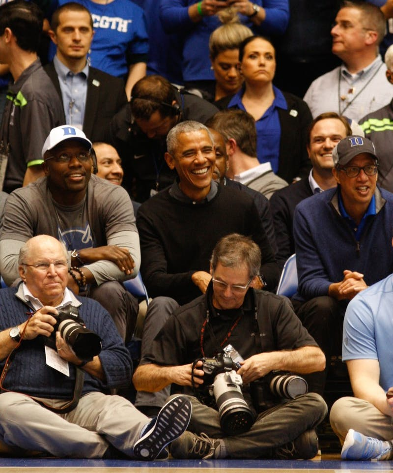 Former President Barack Obama made an appearance at the first UNC-Duke match-up of the 2019 season on Wednesday Feb. 20.