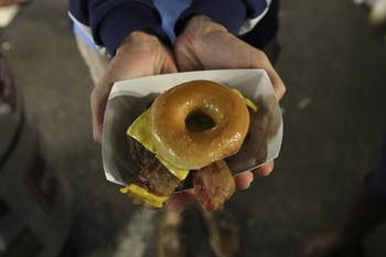 Krispy Kreme burgers are one of many unique foods one can find at the N.C. State Fair.