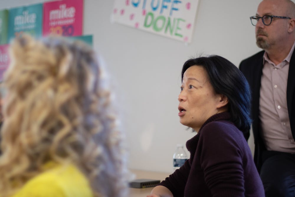 """<p>Chapel Hill council member Hongbin Gu asks a question of Tim O'Brien (not pictured) during a Bloomberg 2020 """"strategy session"""" at the campaign's Chapel Hill office on Tuesday, Jan. 21, 2020.</p>"""