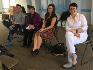 Ezra Baeli-Wang, Beverly Foster, Lexi Cappalli, and Josefa Lindquist discussed the importance of time management for student-athletes at a listening session in Dey Hall Wednesday.