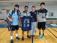 From left, Luke brown, Steven DeePee, Alex Gartland and Andrew Chang pose with a 2015 table tennis t-shirt. Photo courtesy of Alexander Gartland.