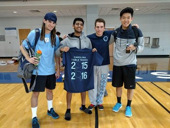 From left,Luke brown,Steven DeePee, Alex Gartland and Andrew Chang pose with a 2015 table tennis t-shirt.Photo courtesy of Alexander Gartland.