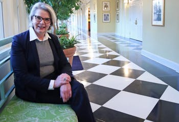 New UNC-System president Margaret Spellings sits in the historic Carolina Inn.