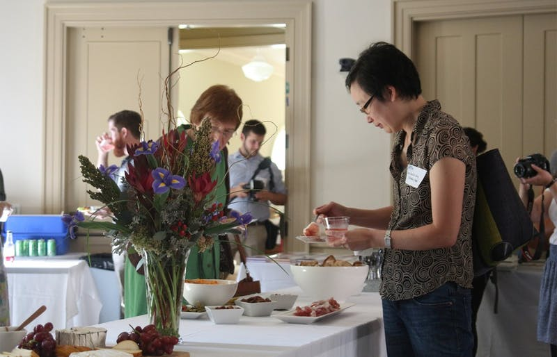 "UNC professors speak about their current work in food studies Thursday evening at Hyde Hall to foster conversation about the University's new research theme: ""Food for All."""