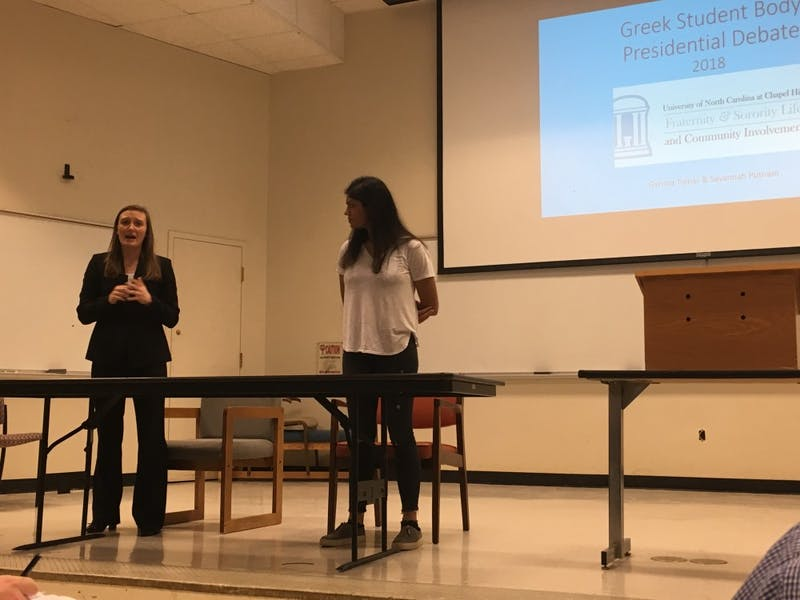 Garima Tomar and Savannah Putnam participated in the first student body presidential debates of the election season on Sunday.