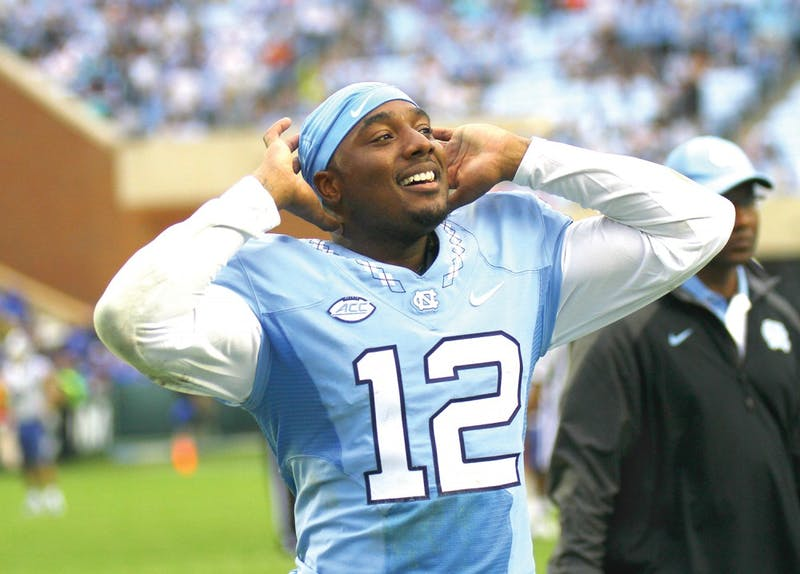 Redshirt senior quarterback Marquise Williams now holds North Carolina's record for career touchdowns, with 83, after his five touchdowns in a blowout of Duke on Saturday.