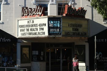 "The Varsity Theatre is located on East Franklin Street and currently showing the movies, ""Venom"" and ""A Star is Born"" on Sunday, Oct. 28, 2018. The historic movie theater has been a landmark of Chapel Hill for decades and now there is possibility that it will operate as a public performing arts space."