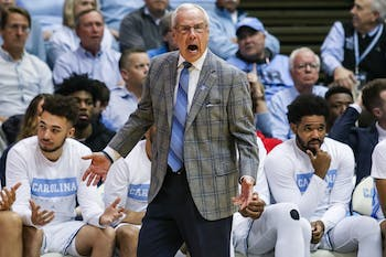 UNC's men's basketball coach Roy Williams yells from the sidelines during a game against Boston College in the Smith Center on Saturday, Feb. 1, 2020. UNC fell to Boston College by just one point in the last minutes of the game, making the final score 71-70.