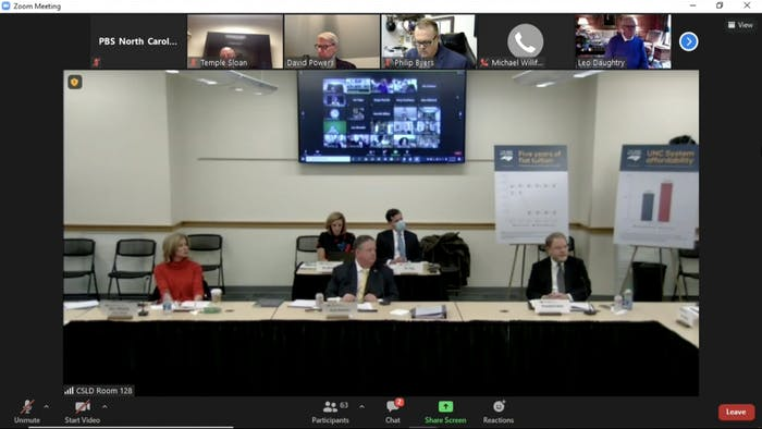 Members of the UNC Board of Governors meet on Thursday, Feb. 18, 2021 to discuss the tuition freeze for in-state tuition and the institution of suicide prevention efforts.