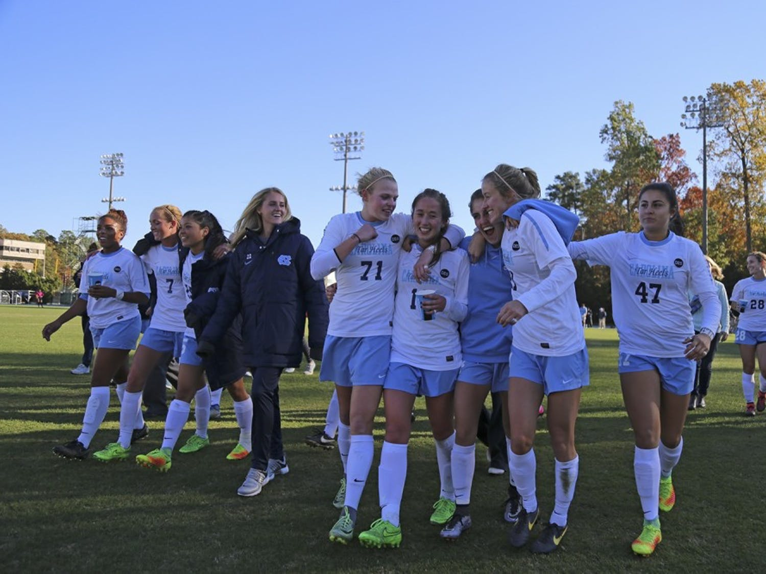 The North Carolina women's soccer team walks off the field in joy after defeating Clemson, 1-0, in the third round of the 2016 NCAA Tournament.