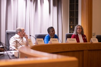 Orange County Commissioners Candidates Mark Dorosin, Jean Hamilton, and Penny Rich discuss their platforms at the CHCCS PTA Council Orange County Commissioners Candidate Forum at Chapel Hill Town Hall on Monday, Feb. 3, 2020.